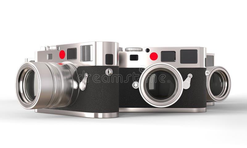 Trzy retro stylowej fotografii kamery ilustracji
