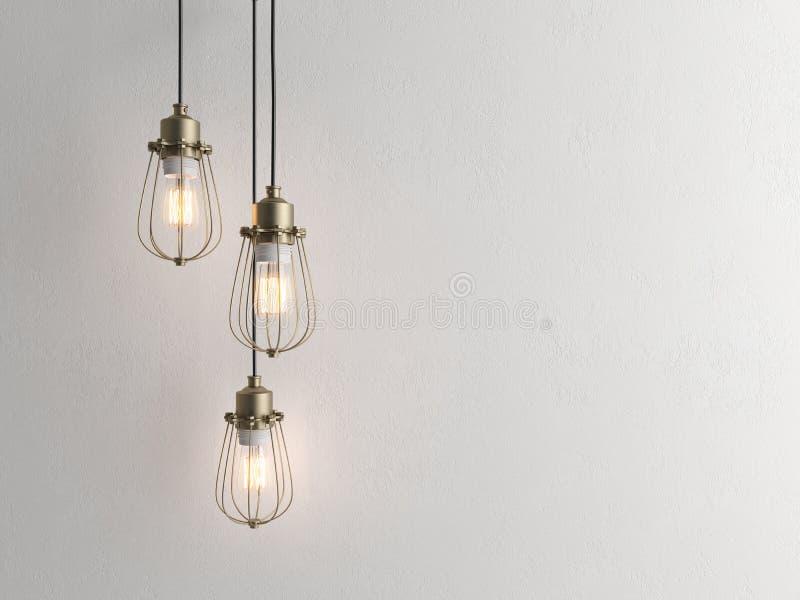 Trzy rocznik lampy wiesza od sufitu z ściennym 3D renderind royalty ilustracja