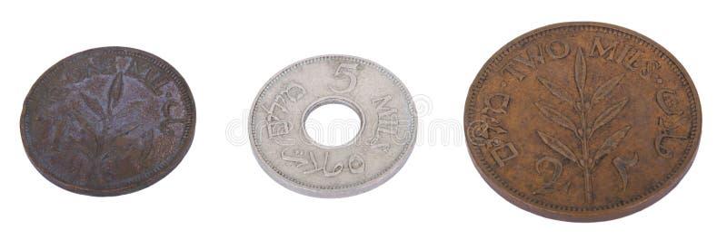 Odosobnione rocznika Palestyna Mil monety obrazy stock