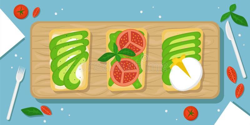Trzy rodzaju avocado wznoszą toast Pięknego karmowego tło z drewnianą tnącą deską, czereśniowymi pomidorami, solankowymi kryształ ilustracja wektor
