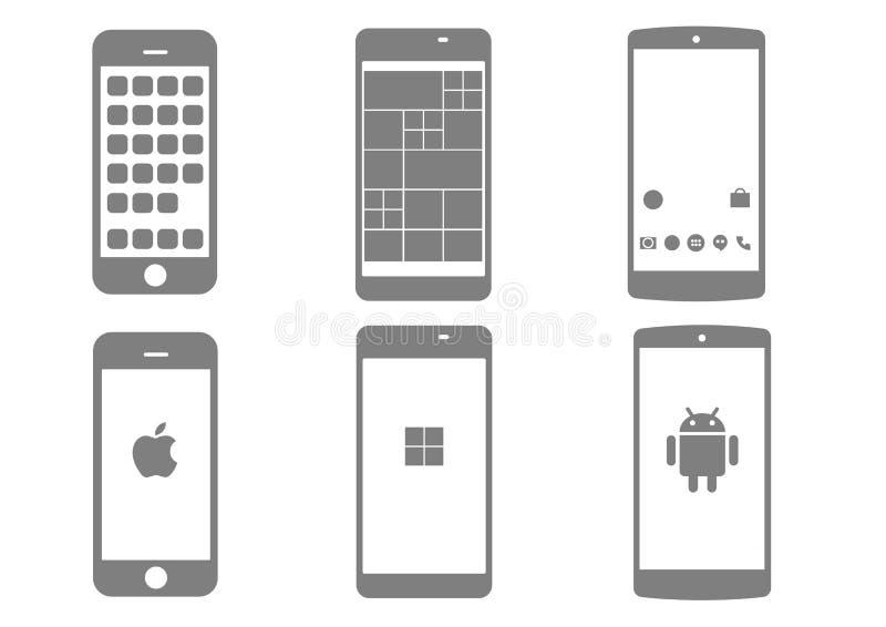 Trzy rodzaju mądrze telefon ilustracja wektor