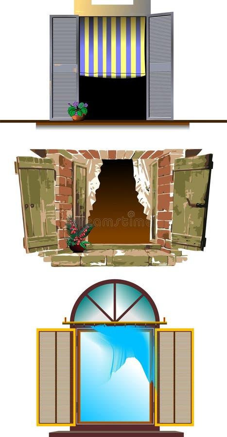 Trzy rodzaju Odsłonięty okno royalty ilustracja