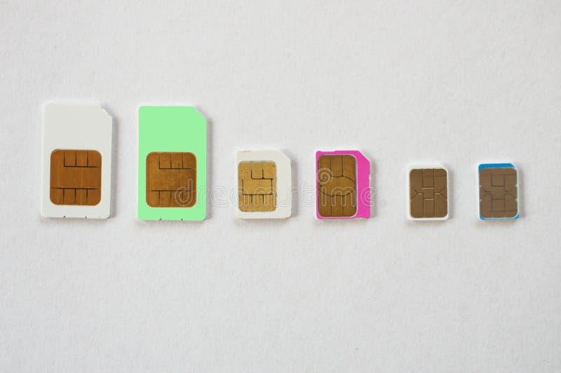 Trzy rodzaju sim karty obraz stock