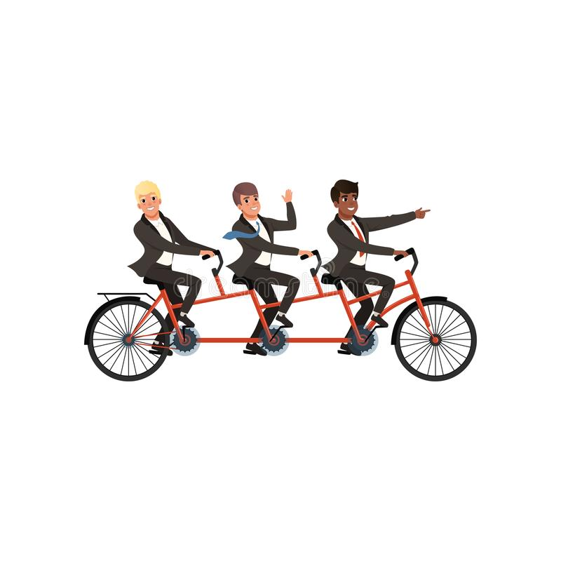 Trzy rozochoconego mężczyzna jedzie tandemowego bicykl w czarnych klasycznych kostiumach Partnery biznesowi, drużyny praca Kreskó royalty ilustracja