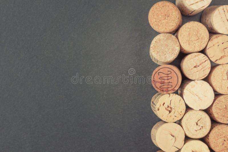 Trzy rzędu wino korki zdjęcia stock