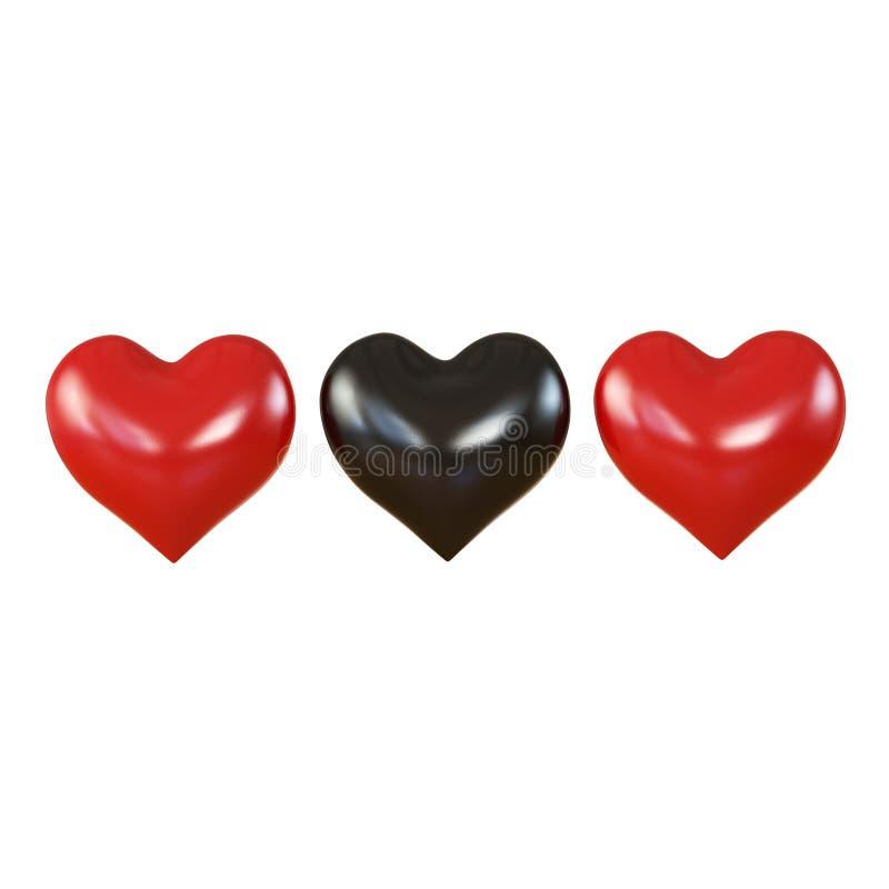 Trzy serc czerń w środku zdjęcie stock