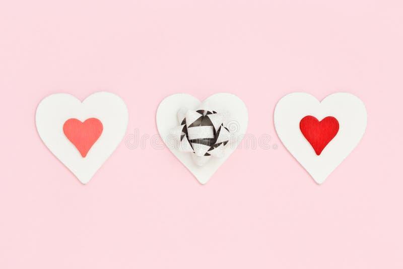 Trzy serca na walentynki ` s karcie zdjęcie royalty free