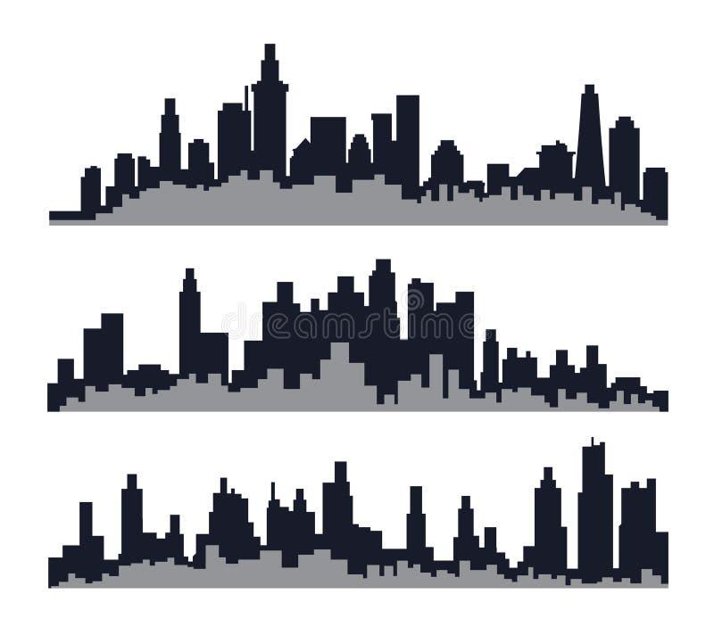 Trzy set miasto linia horyzontu zdjęcie stock