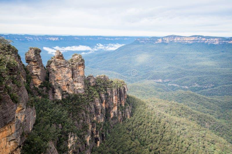 Trzy siostra ikonowa rockowa formacja Błękitny góra park narodowy, Nowe południowe walie, Australia zdjęcie stock