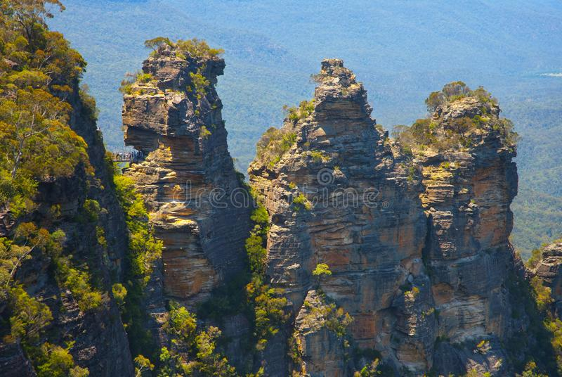 Trzy siostry w Błękitnych górach, Australia zdjęcia stock