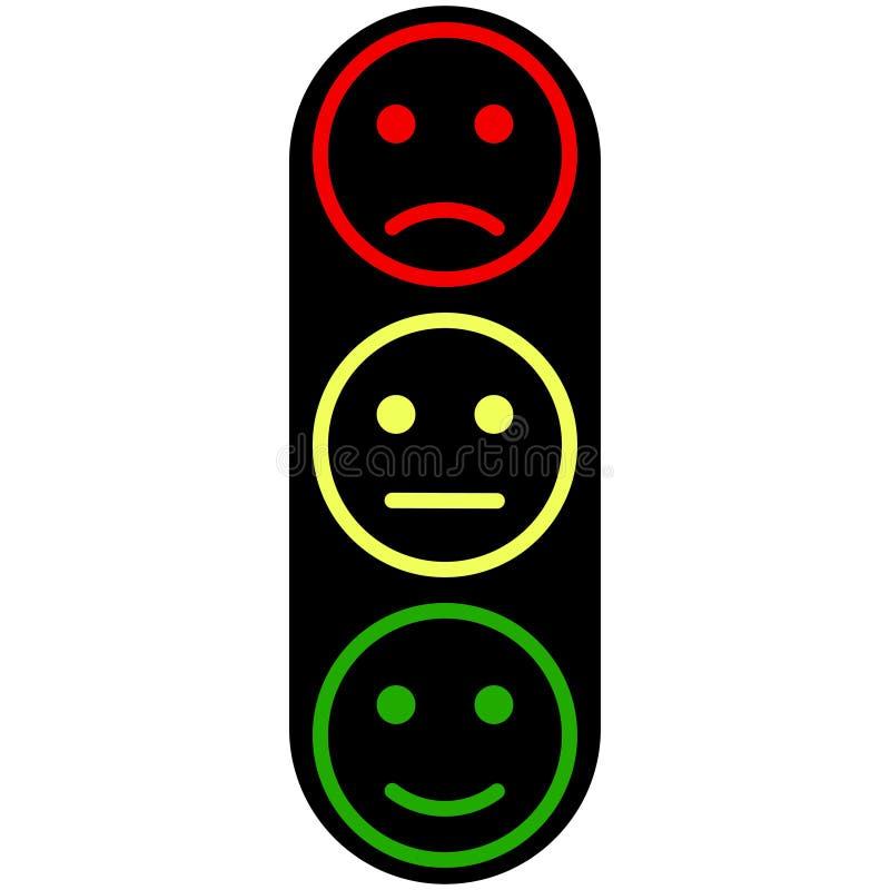 Trzy smiley twarzy żółtego czerwonego zielonego koloru ilustracji