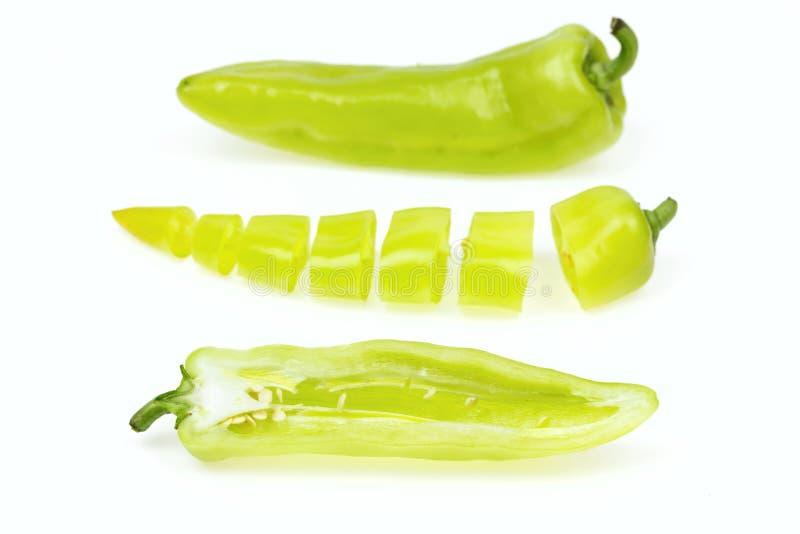 Trzy spiczasty zielony pieprz obrazy stock