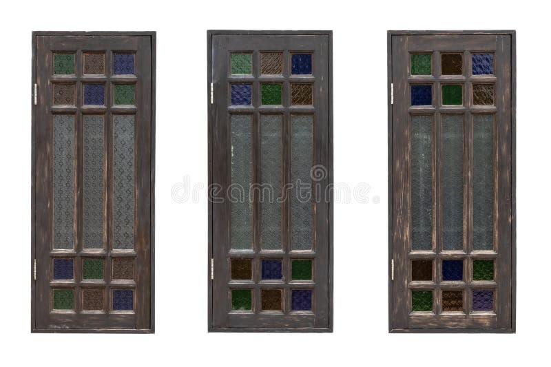Trzy starego drewnianego okno obrazy stock