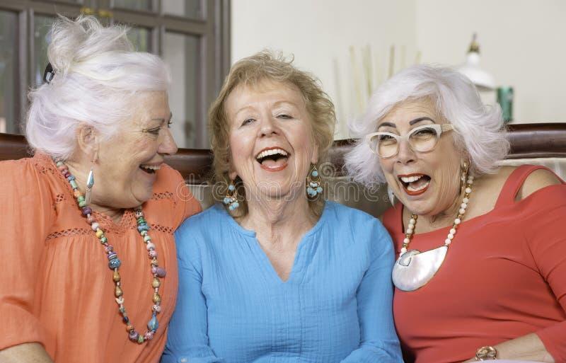 Trzy Starszej damy Śmia się w żywym pokoju zdjęcia royalty free