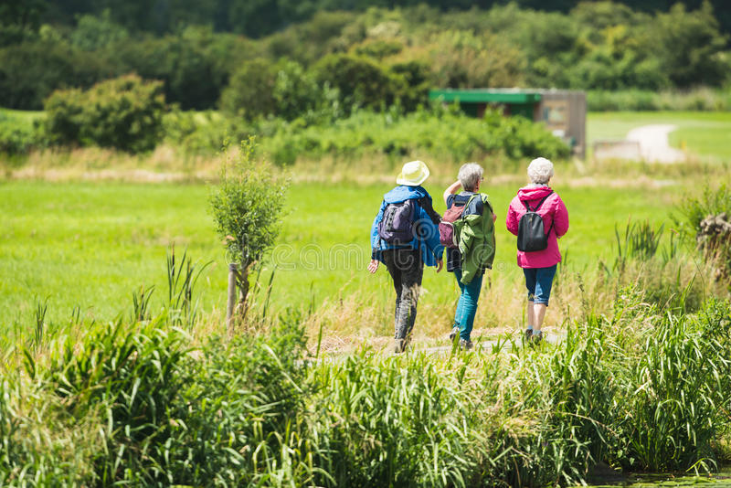 Trzy starszej kobiety chodzi na drodze w wsi obrazy stock