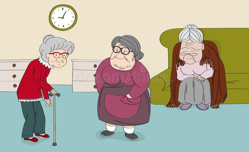 Trzy starszej kobiety, stare damy, ?liczne babcie w starszym spoczynkowym domu Oryginalna r?ka rysuj?ca ilustracja royalty ilustracja