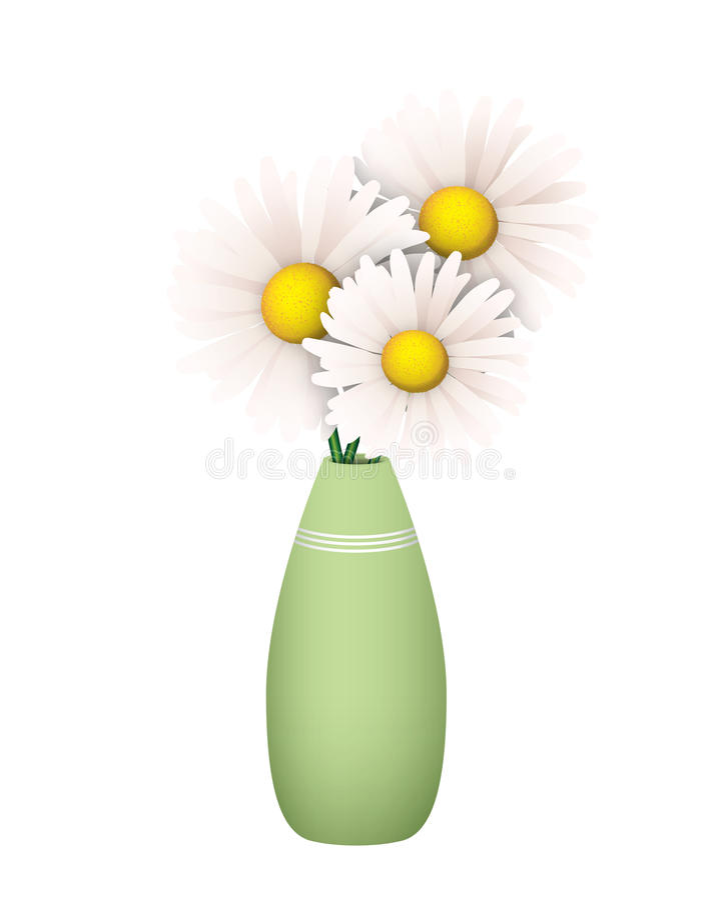 Trzy stokrotki w Zielonej wazie ilustracji