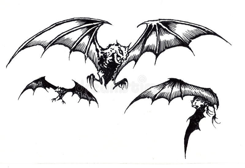 Trzy Strasznego Halloween nietoperza w locie ilustracja wektor