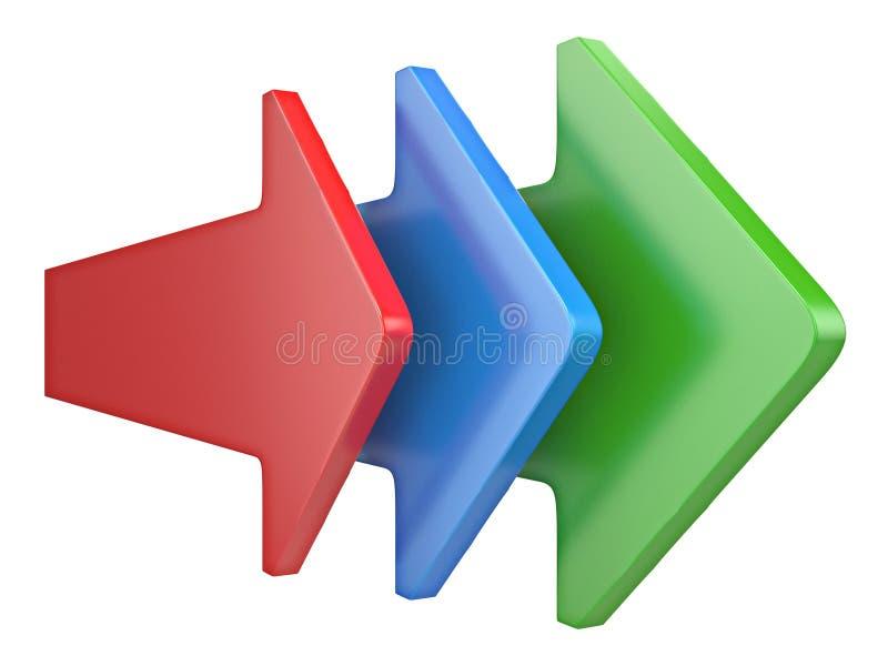 Trzy strzały pokazuje ten sam kierunki 3D ilustracji