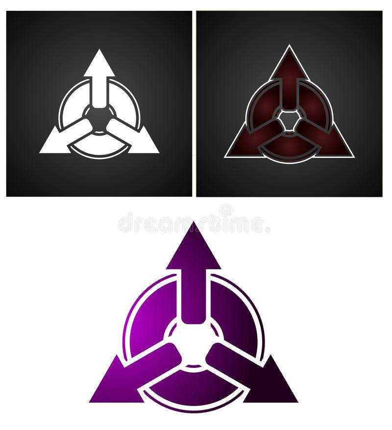 Trzy strzał logo projekt Biel i Gradientowy kolor ilustracji