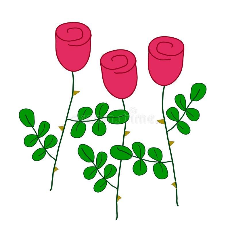 Trzy stylizowali czerwone róże z zielonymi liśćmi, prosta wektorowa ręka ilustracji