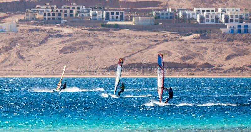 Trzy surfingowa współzawodniczą w Czerwonym morzu w lagunie w Egipt Dahab zdjęcia stock