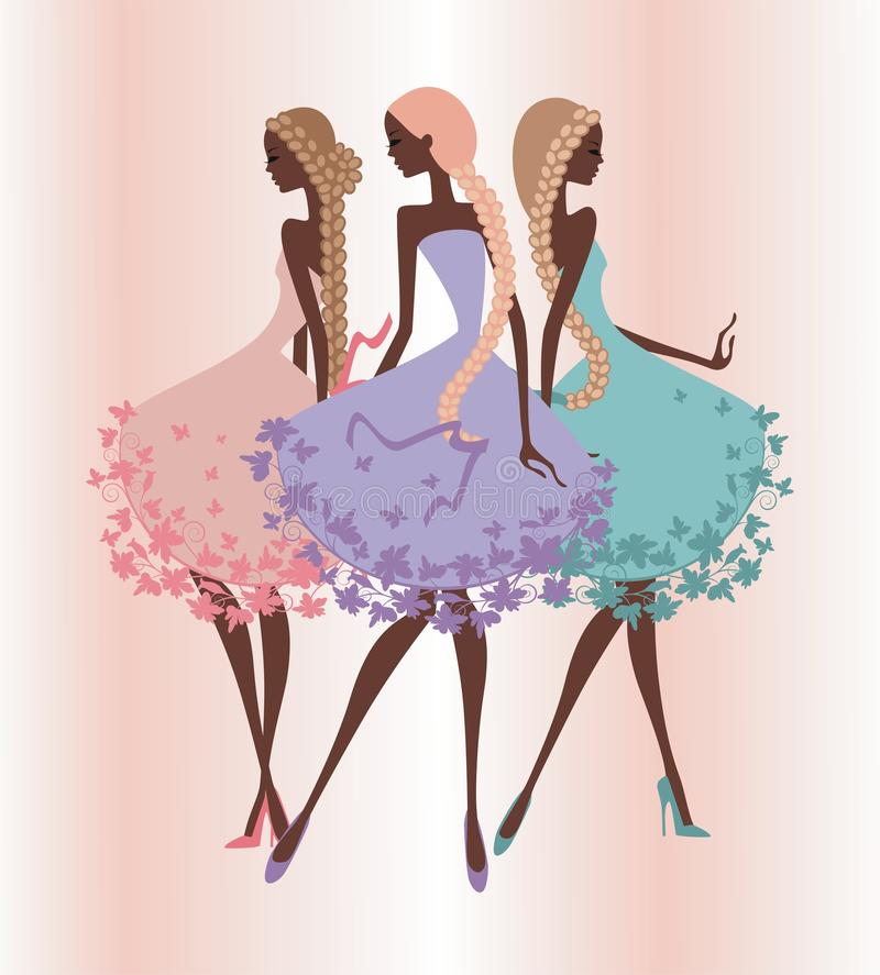 Trzy sylwetka girls2 royalty ilustracja