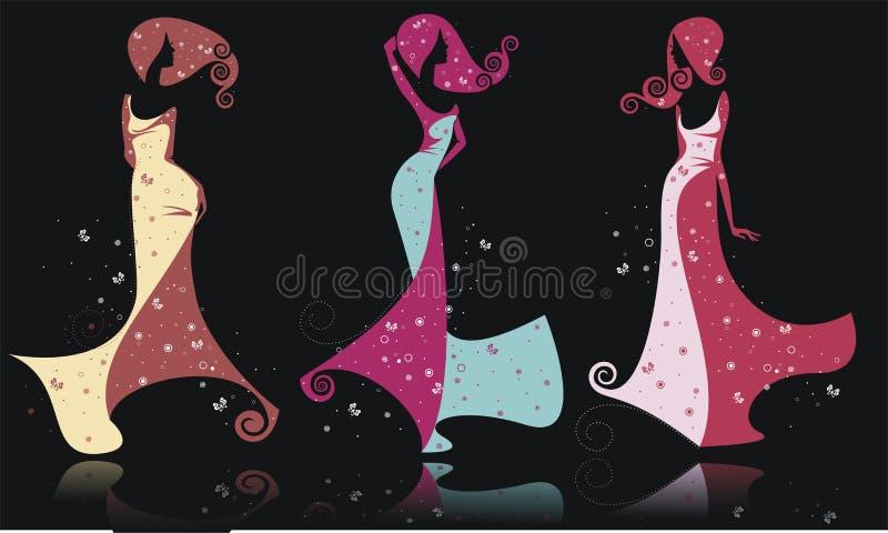 Trzy sylwetki dziewczyny ja royalty ilustracja