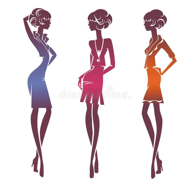 Trzy sylwetki eleganckiej dziewczyny royalty ilustracja
