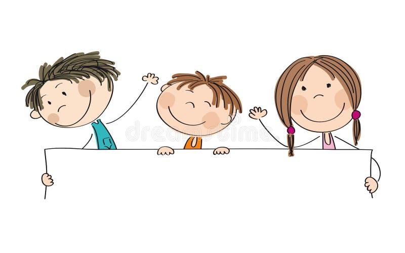 Trzy szczęśliwego dziecka trzyma pustego sztandar - przestrzeń dla twój teksta royalty ilustracja