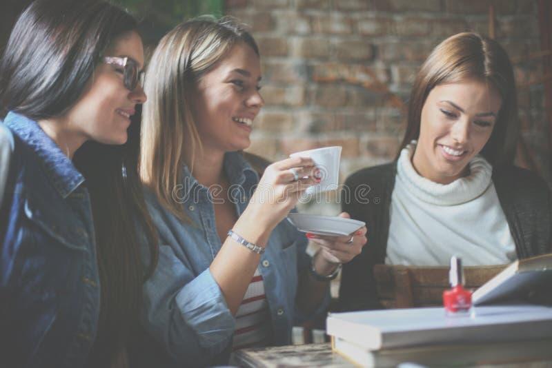 Trzy szczęśliwej dziewczyny w bibliotece ma edukację wpólnie z bliska obraz royalty free