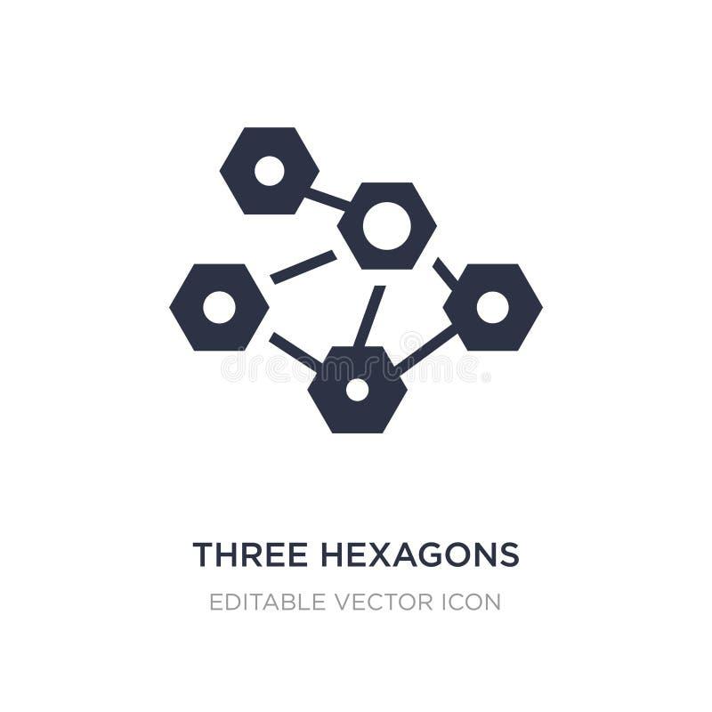 trzy sześciokątów komórki ikona na białym tle Prosta element ilustracja od Medycznego pojęcia ilustracja wektor