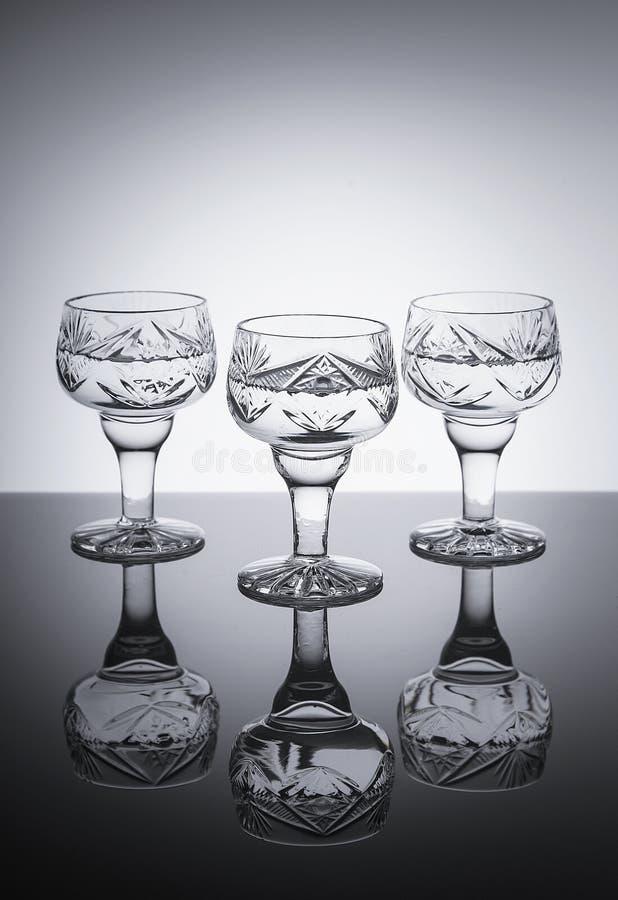 Trzy szkła dla alkoholu obrazy royalty free