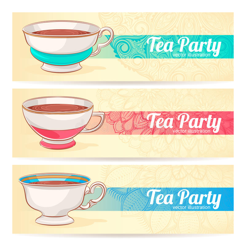 Trzy sztandaru z filiżankami herbata ilustracji