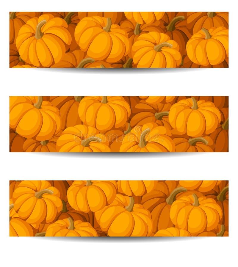 Trzy sztandaru z pomarańczowymi baniami. royalty ilustracja