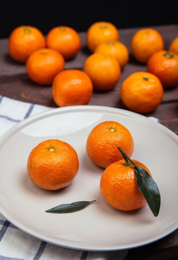 Trzy Tangerines zdjęcie stock