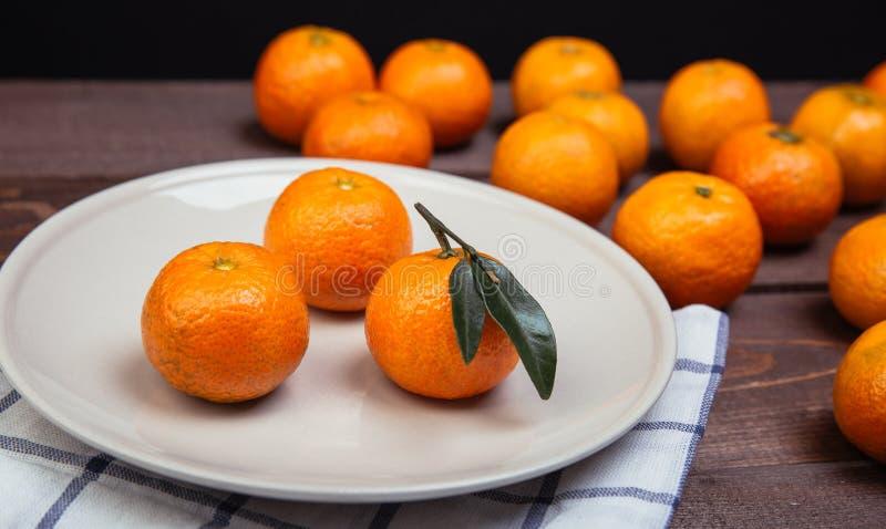 Trzy Tangerines obrazy royalty free