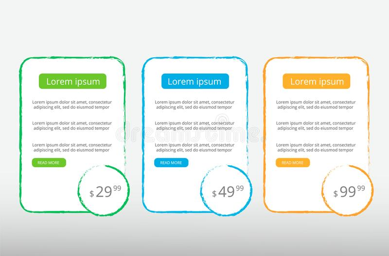 Trzy taryfy UX interfejs dla miejsca wektorowy sztandar dla sieci app Wyceniać stołu, sztandaru, rozkazu, pudełka, guzika, listy  obrazy royalty free
