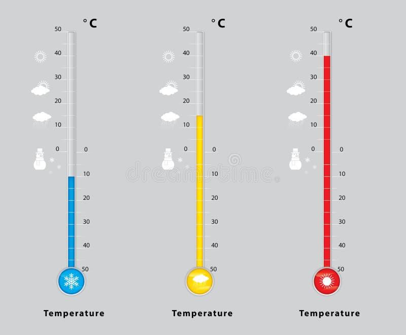 Trzy termometru z różnymi temperaturami, miara diagnostyk, zimno, środek, gorący ilustracja wektor