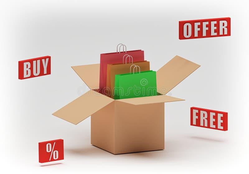 Trzy torby na zakupy w rozpieczętowanym pudełka 3d renderingu royalty ilustracja
