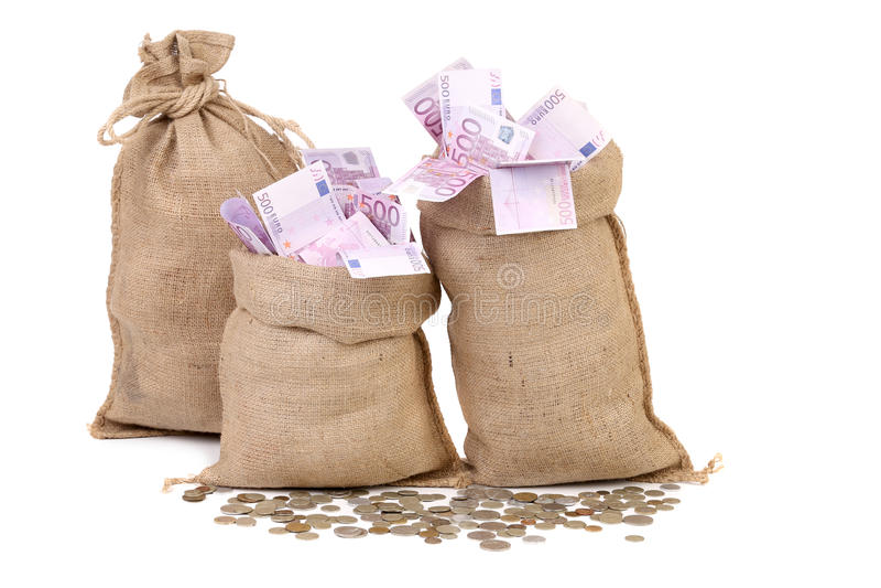 Trzy torby z wiele euro banknotami. zdjęcie royalty free