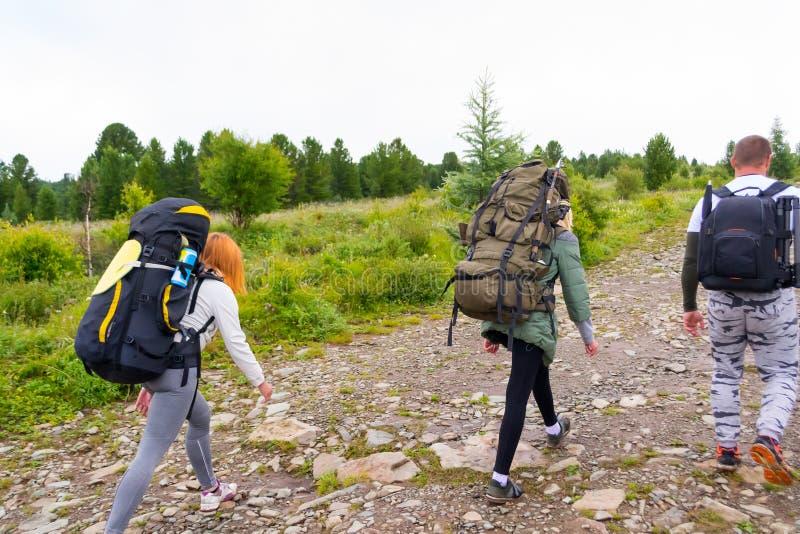 Trzy turysty z plecakami obraz stock