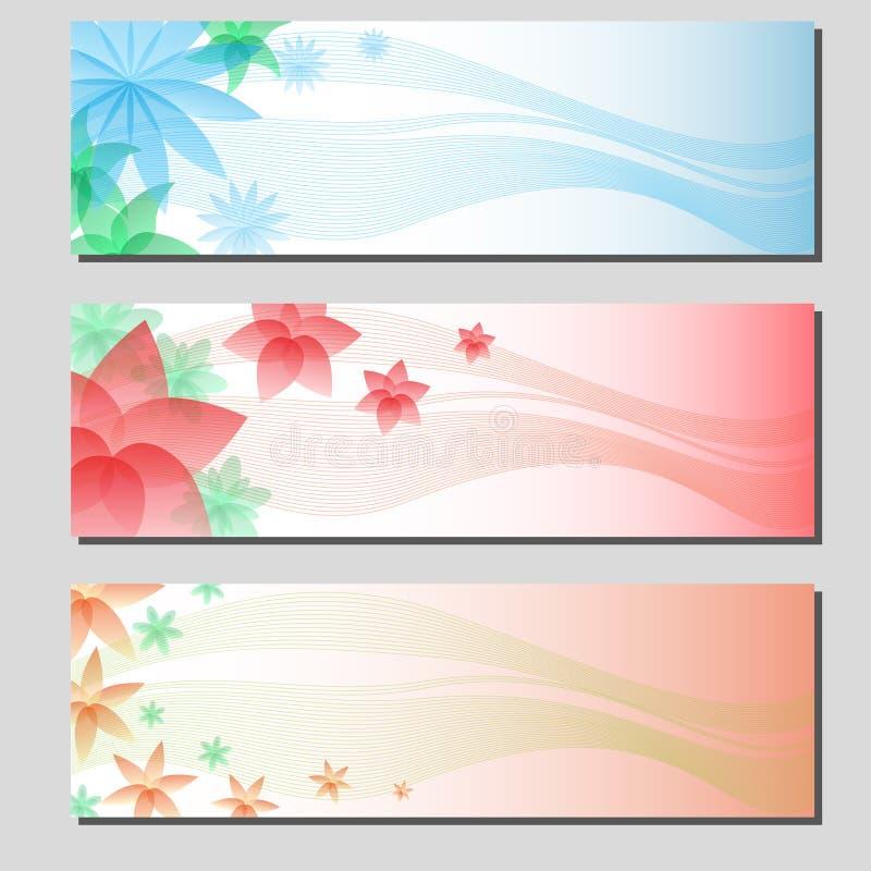 Trzy typ kwieciste kolorowe sztandar karty ilustracji