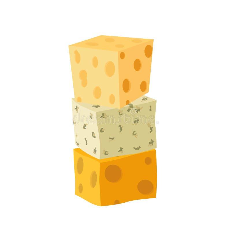 Trzy typ ser Cheddar, parmesan, danablue, roquefort Mieszkanie styl ilustracja wektor