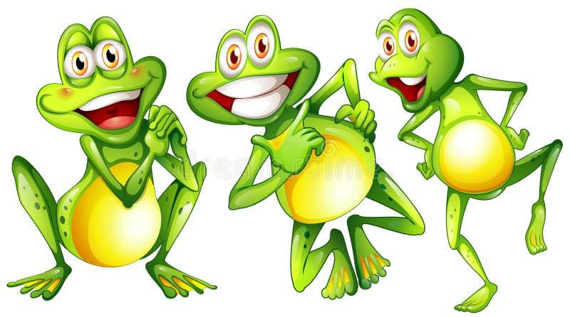 Trzy uśmiechniętej żaby ilustracji