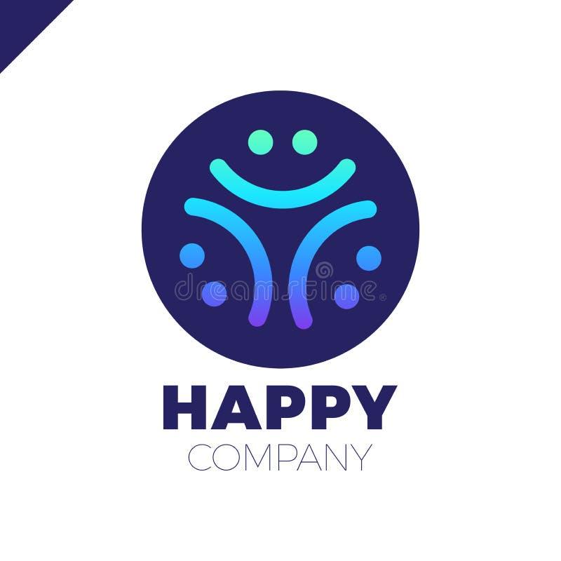 Trzy uśmiechu loga ludzie - Szczęśliwa społeczności ikona ilustracja wektor