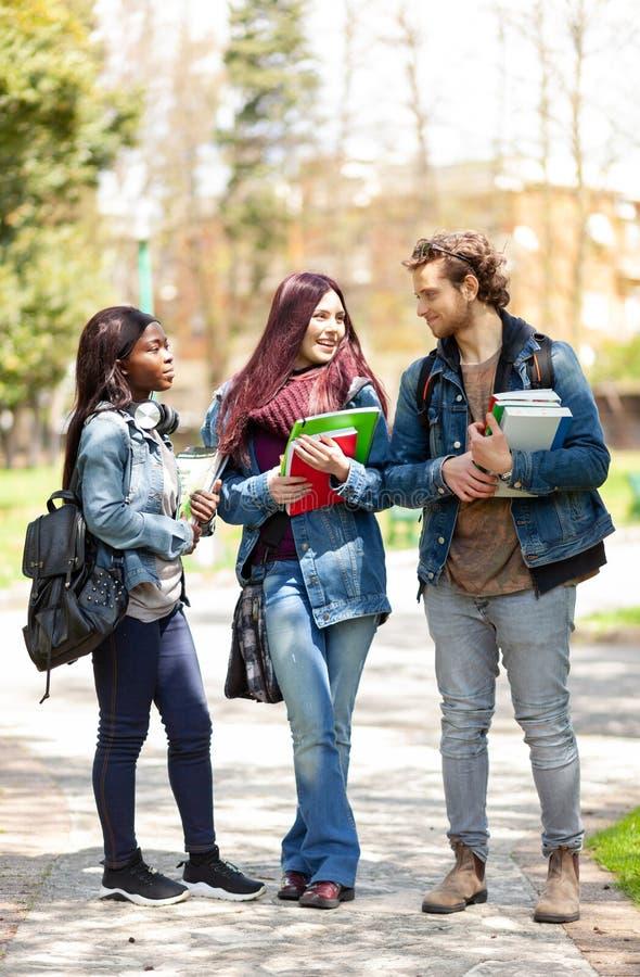 Trzy ucznia w plenerowym parku obrazy royalty free