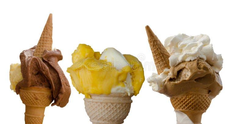 Trzy włoskiego lody w gofra rożku fotografia royalty free