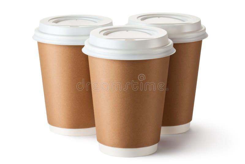 Trzy w kartonowej filiżance trzy kawa obraz royalty free
