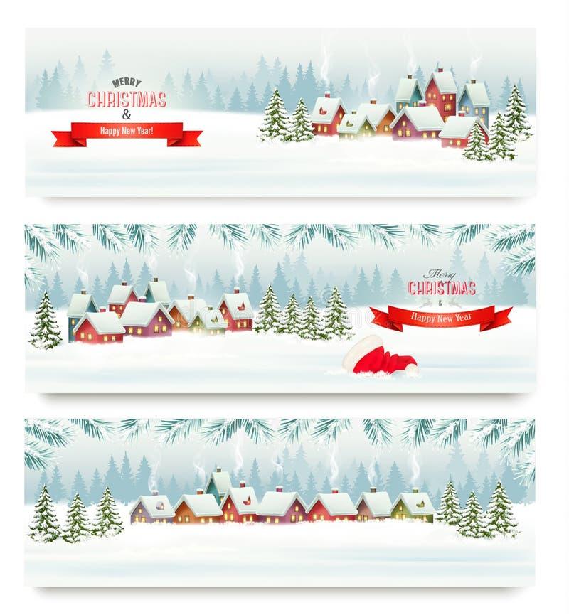 Trzy Wakacyjnego Bożenarodzeniowego sztandaru z zimy wioską ilustracja wektor
